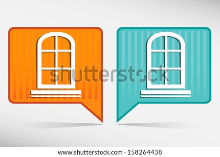Window frame - orange and blue pointer