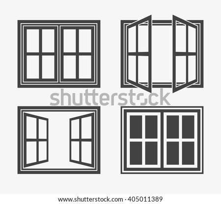 Window icon trendy flat style isolated stock vector for Window design girl