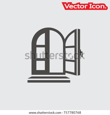 Window icon isolated sign symbol and flat style for app, web and digital design. Vector illustration.