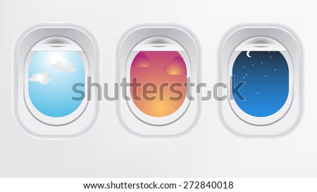 Window of airplane aircraft (long flight concept). Creative design of travel by plane. Interior of aircraft with day sunset and night of view from Porthole.  - stock vector