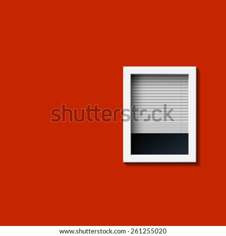 Window on a red wall. Vector image. - stock vector