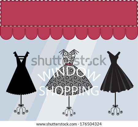 Window Shopping Black Dresses Banner with Copyspace - stock vector