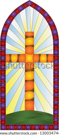 window / Stained-glass window - stock vector