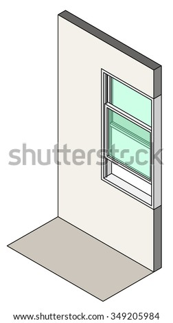 Window type / construction: Single hung vertical sliding window shown installed in a wall. - stock vector