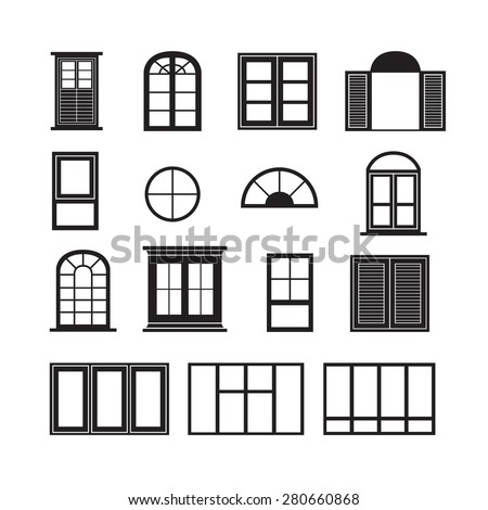 Set o retro windows isolated on stock vector 176188100 for Window design vector
