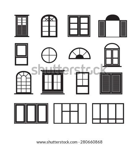 Set o retro windows isolated on stock vector 176188100 for Window design vector