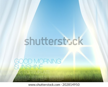 Window view of morning sun rising over green field with transparent white curtains. Editable template. - stock vector