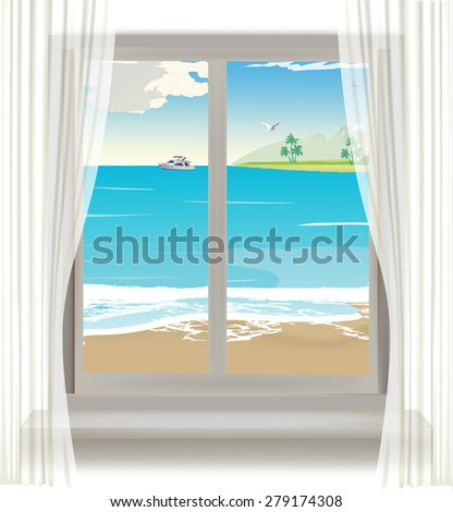 window view of the sea. Vector. - stock vector