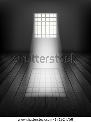 Window with bars. Prison interior - stock vector