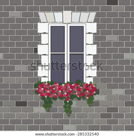 Window with flower on brick wall background. Vintage French wall with window. - stock vector