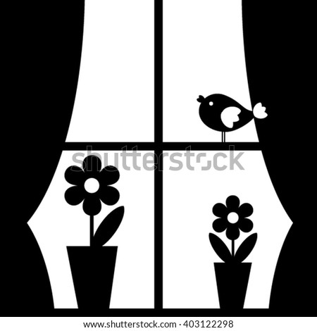 Window with flowers and bird. - stock vector