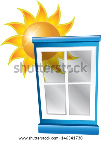 window with shiny sun - stock vector
