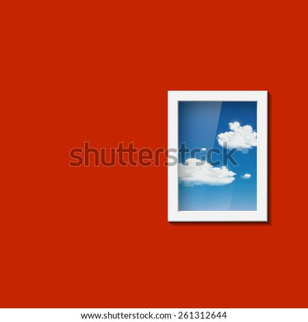 Window with sky and clouds. Vector image. - stock vector
