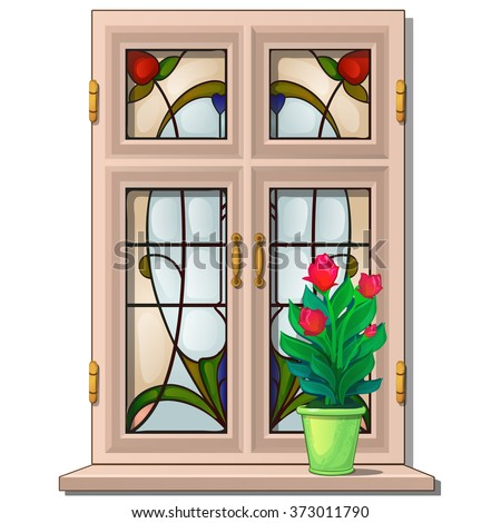 Window with stained glass in the Oriental style. Vector.