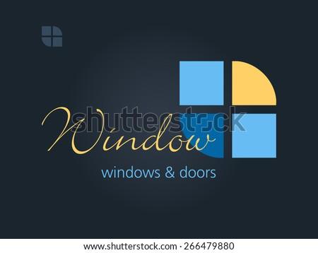 Windows doors business sign template vector icon for for Windows business card template