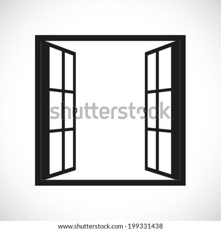 windows-half open window vector - stock vector