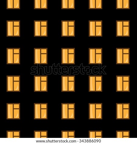 Windows of the high-altitude house at night,  seamless background,  vector  illustration