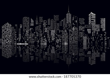windows on abstract city skylines in black and white  - stock vector