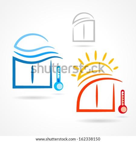 windows set emblem sun wind symbol element vector icons - stock vector