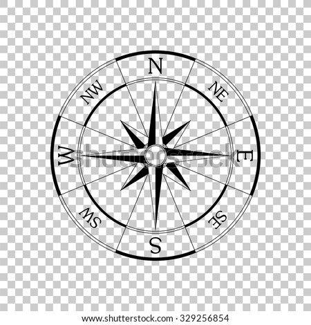windrose compass vector icon - black illustration - stock vector