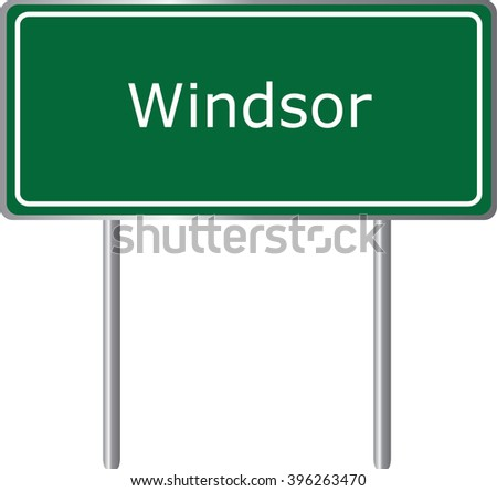 Windsor , Connecticut , road sign green vector illustration, road table, USA city - stock vector