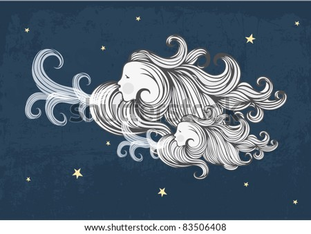 windy clouds vector/illustration - stock vector