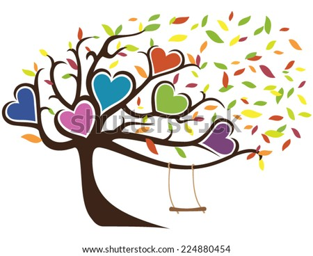 Windy Fall Family Tree with Swing Holding Six Hearts - stock vector