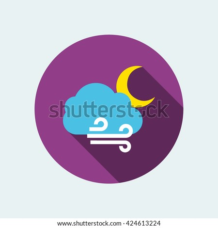 windy night icon. flat windy night icon. windy night vector - stock vector