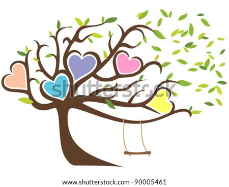 Windy Tree with Green Leaves Framing Five Hearts and Swing - stock vector