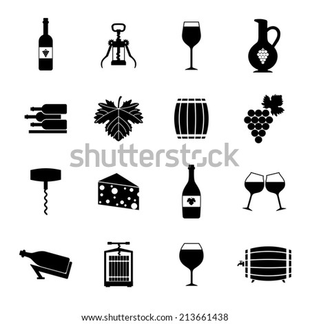 Wine alcohol drink black icons set isolated vector illustration - stock vector