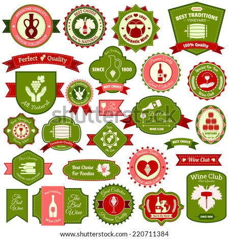 Wine alcohol drink label emblems and ribbons flat colored set of isolated vector illustration - stock vector