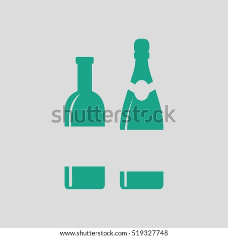 Wine and champagne bottles icon. Gray background with green. Vector illustration.