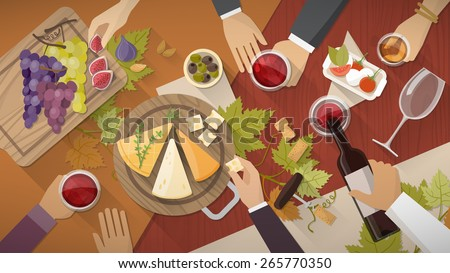 Wine and cheese tasting party with wine glasses, bottles grapes and cheese appetizers, hands of people drinking all around - stock vector