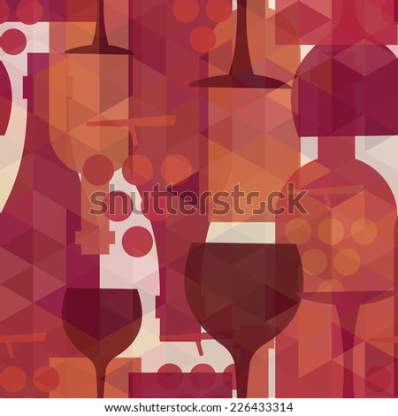Wine and drink abstract seamless pattern illustration background with bottles, glasses and grapes.  EPS10 transparent vector file organized in layers for easy editing. - stock vector