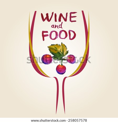 Wine and Food background. Watercolor grapes illustration.  Splash blob design - stock vector