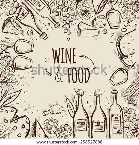 Wine and food hand drawn illustration. Perfect for wine list - stock vector