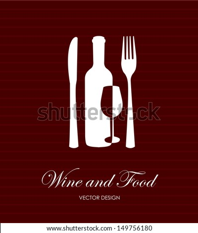 wine and food label over lineal background vector illustration