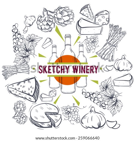 Wine and food sketches. Silhouettes Isolated on white background.  - stock vector
