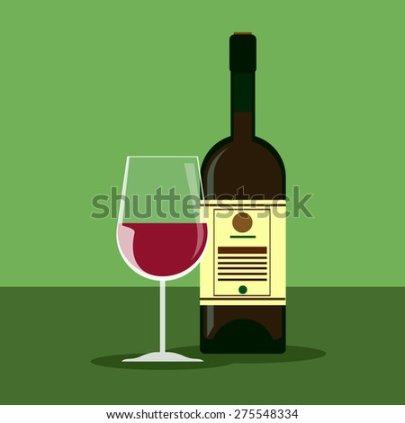 wine and glass vector design template, bar menu template illustration - stock vector