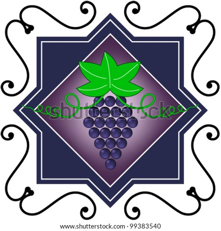 wine and grapes icon symbol - stock vector