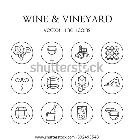 Wine and vineyard line icons - stock vector
