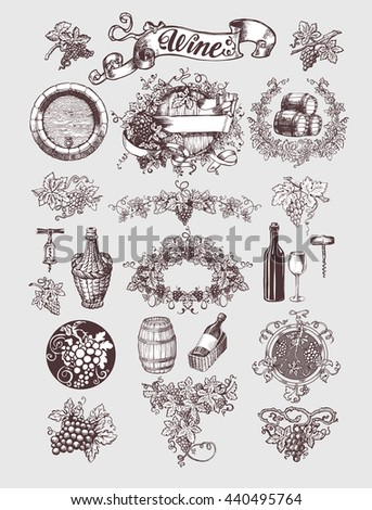 Wine and wine making vintage set. Wine template design. Vector illustration. Sketch style design.. Handdrawn grapes. - stock vector