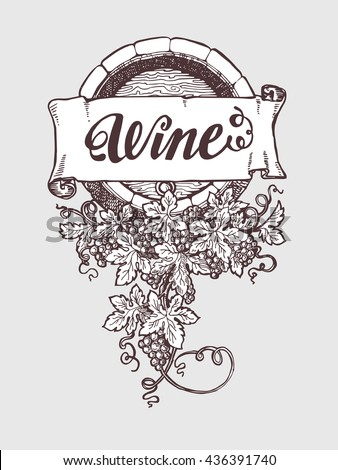 Wine and wine making vintage vector barrel with grapes decoration. Vector illustration. Handdrawn sketch style. - stock vector