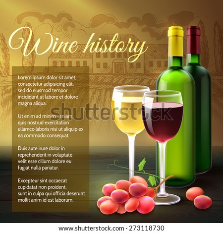 Wine background with realistic bottles glasses and grape branch vector illustration - stock vector