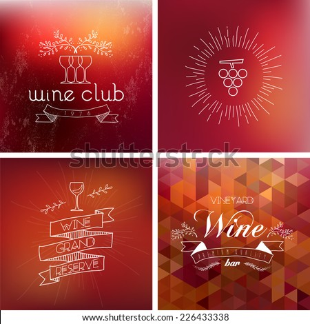 Wine bar vintage label illustration background set. EPS10 transparent vector file organized in layers for easy editing. - stock vector
