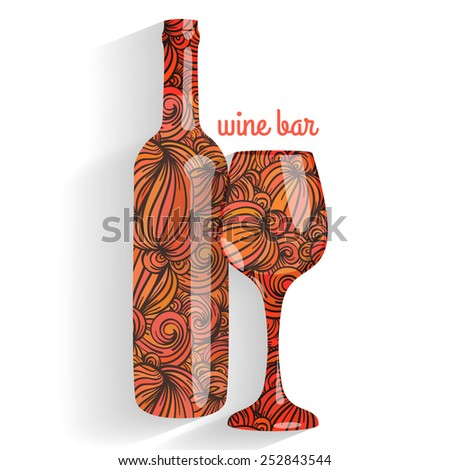 Wine bar - wine bottle and wineglass - stock vector