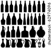 Wine Beer Bottle Silhouette - stock vector