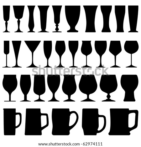 Wine Beer Glass Cup - stock vector