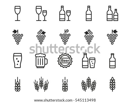 Wine, beer  icons set - glass, bottle, grape, wheat.