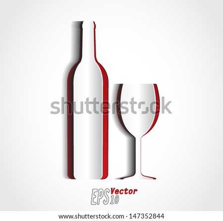 wine bottle and cup/ cut out of paper / vector illustration eps 10 - stock vector